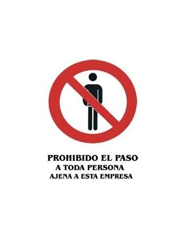 Cartel PVC 40x30 Prohibido el paso a...