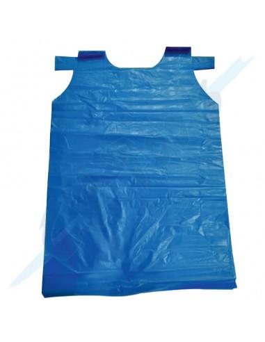 Delantal desechable azul polietileno...
