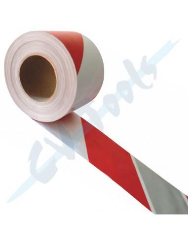 Cinta plata Rojo/blanco 10 cm x 200 m